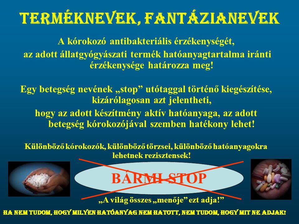Terméknevek, fantázianevek A kórokozó antibakteriális érzékenységét, az adott állatgyógyászati termék hatóanyagtartalma iránti érzékenysége határozza