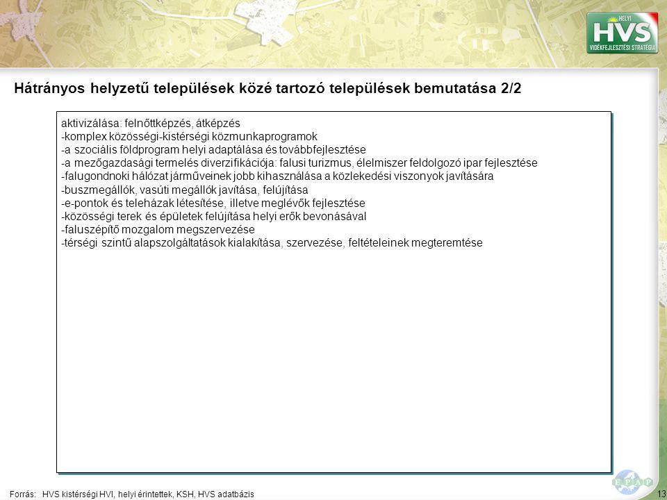 13 aktivizálása: felnőttképzés, átképzés -komplex közösségi-kistérségi közmunkaprogramok -a szociális földprogram helyi adaptálása és továbbfejlesztés