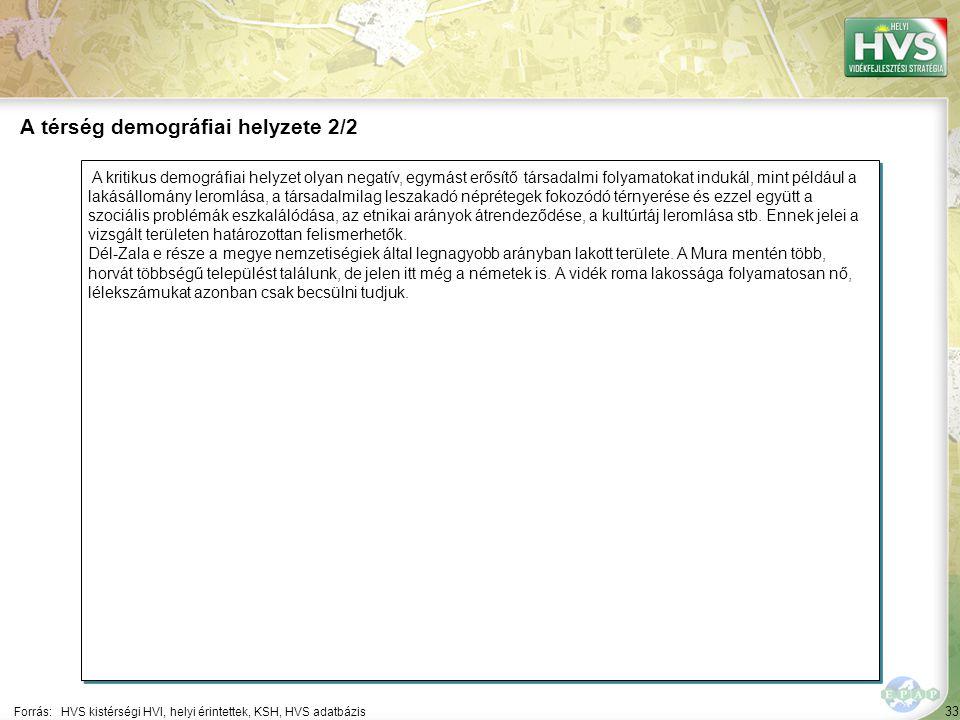 33 A kritikus demográfiai helyzet olyan negatív, egymást erősítő társadalmi folyamatokat indukál, mint például a lakásállomány leromlása, a társadalmi