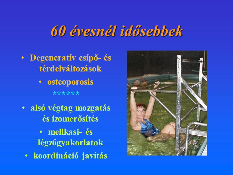 60 évesnél idősebbek •Degeneratív csípő- és térdelváltozások •osteoporosis ****** •alsó végtag mozgatás és izomerősítés •mellkasi- és légzőgyakorlatok
