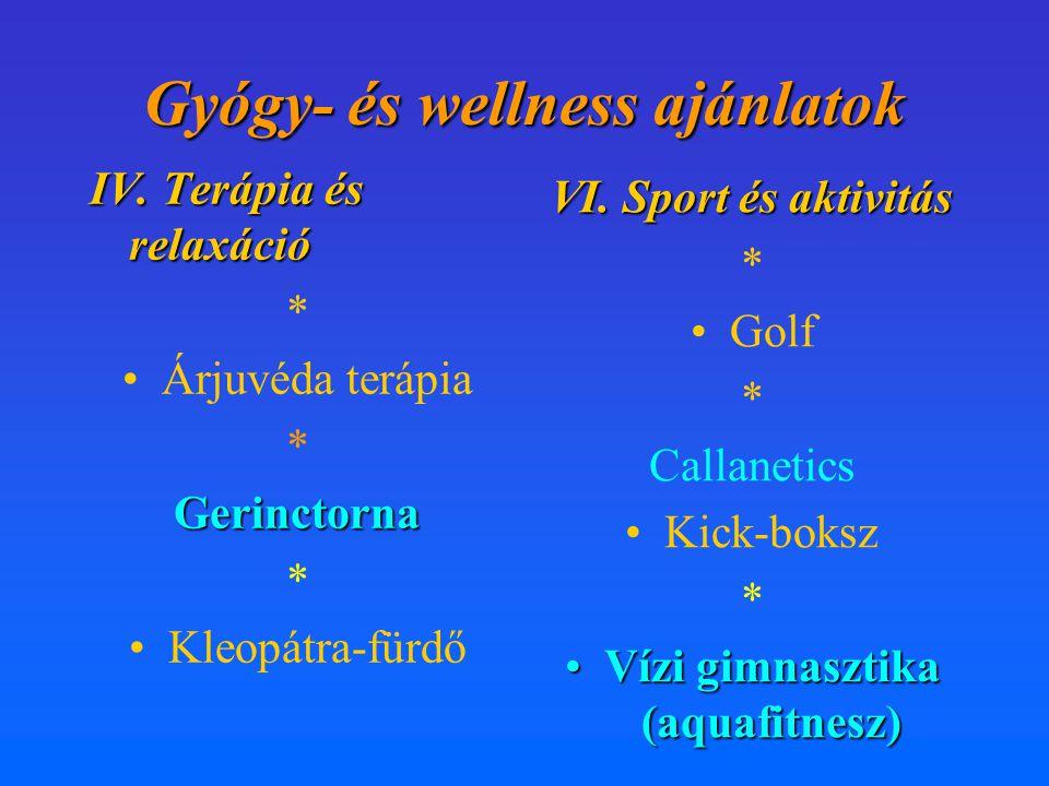 Gyógy- és wellness ajánlatok IV. Terápia és relaxáció * •Árjuvéda terápia *Gerinctorna •Kleopátra-fürdő VI. Sport és aktivitás * •Golf * Callanetics •