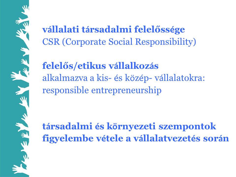 v á llalati t á rsadalmi felelőss é ge CSR (Corporate Social Responsibility) felelős/etikus v á llalkoz á s alkalmazva a kis- é s k ö z é p- v á llala