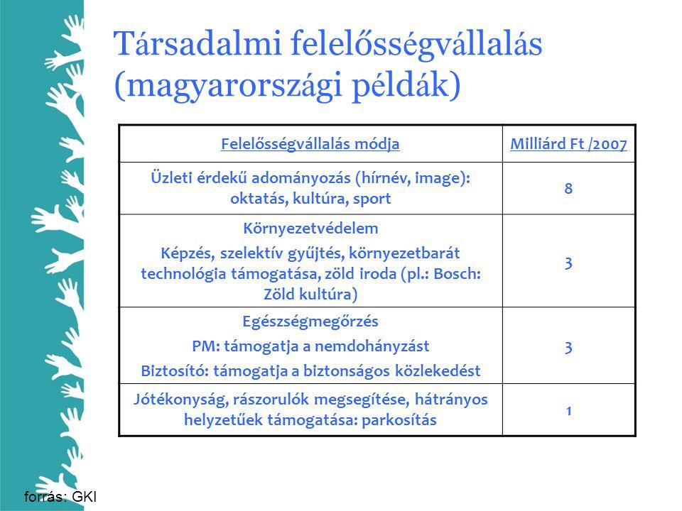 T á rsadalmi felelőss é gv á llal á s (magyarorsz á gi p é ld á k) Felelősségvállalás módjaMilliárd Ft /2007 Üzleti érdekű adományozás (hírnév, image)