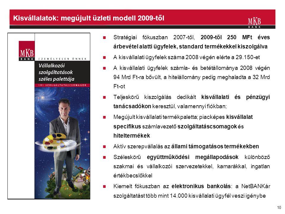 10 Kisvállalatok: megújult üzleti modell 2009-től  Stratégiai fókuszban 2007-től, 2009-től 250 MFt éves árbevétel alatti ügyfelek, standard termékekk