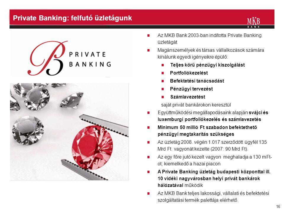 16  Az MKB Bank 2003-ban indította Private Banking üzletágát  Magánszemélyek és társas vállalkozások számára kínálunk egyedi igényeikre épülő:  Tel
