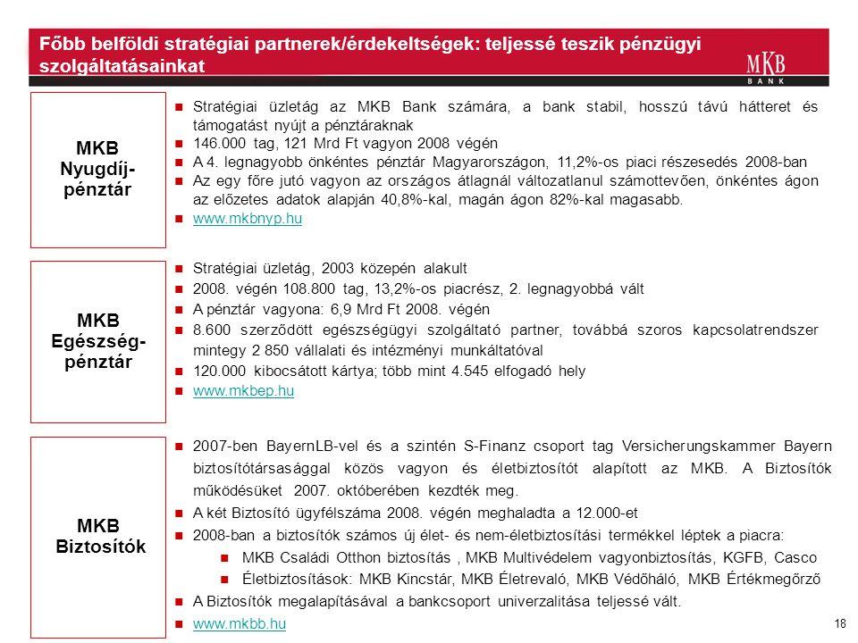 18 Főbb belföldi stratégiai partnerek/érdekeltségek: teljessé teszik pénzügyi szolgáltatásainkat MKB Nyugdíj- pénztár MKB Egészség- pénztár MKB Biztos