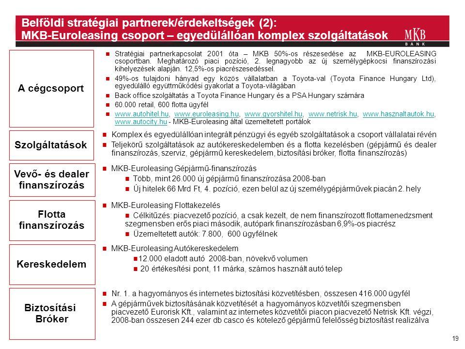 19 A cégcsoport Szolgáltatások Vevő- és dealer finanszírozás Flotta finanszírozás Kereskedelem  Stratégiai partnerkapcsolat 2001 óta – MKB 50%-os rés