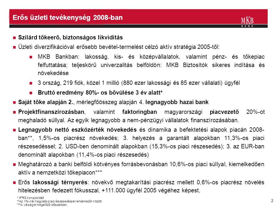 2 Erős üzleti tevékenység 2008-ban  Szilárd tőkeerő, biztonságos likviditás  Üzleti diverzifikációval erősebb bevétel-termelést célzó aktív stratégi