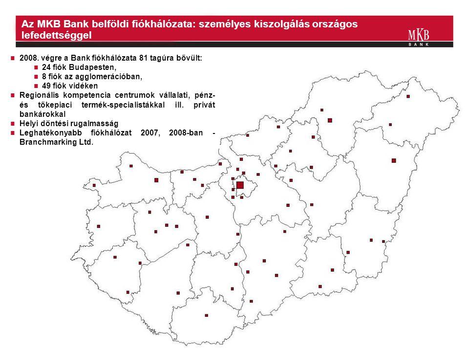 20  2008. végre a Bank fiókhálózata 81 tagúra bővült:  24 fiók Budapesten,  8 fiók az agglomerációban,  49 fiók vidéken  Regionális kompetencia c