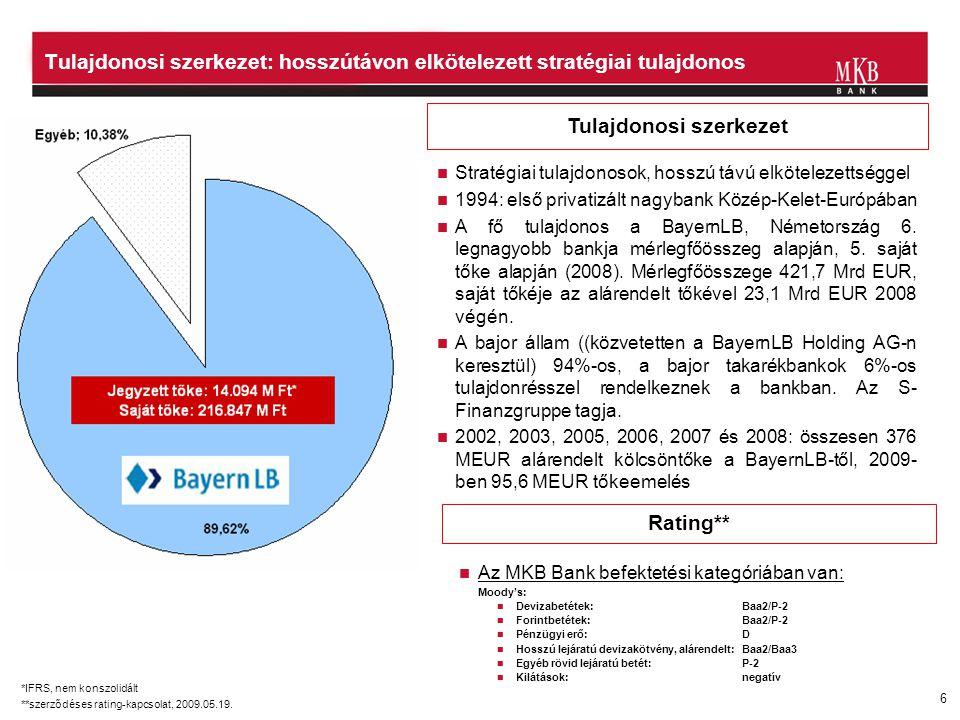 6 Tulajdonosi szerkezet Rating**  Stratégiai tulajdonosok, hosszú távú elkötelezettséggel  1994: első privatizált nagybank Közép-Kelet-Európában  A