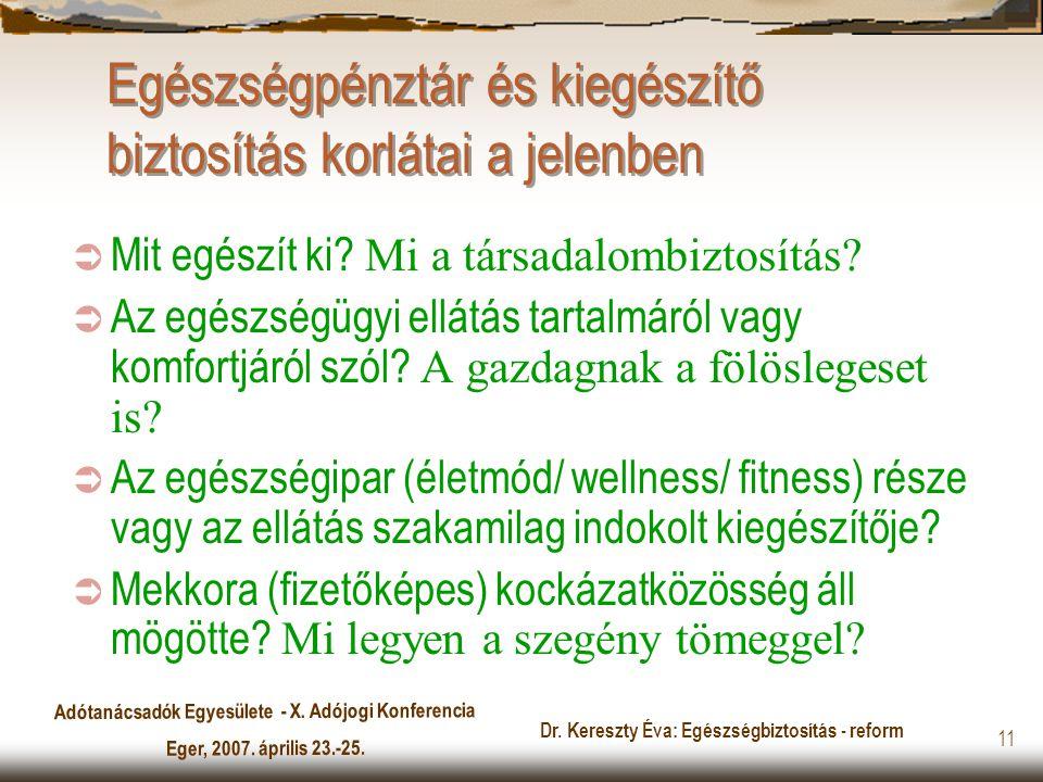 Adótanácsadók Egyesülete - X. Adójogi Konferencia Eger, 2007. április 23.-25. Dr. Kereszty Éva: Egészségbiztosítás - reform 11 Egészségpénztár és kieg