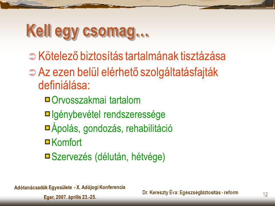 Adótanácsadók Egyesülete - X. Adójogi Konferencia Eger, 2007. április 23.-25. Dr. Kereszty Éva: Egészségbiztosítás - reform 12 Kell egy csomag…  Köte