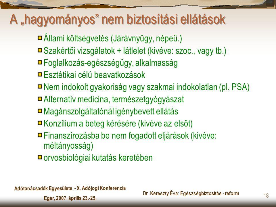 """Adótanácsadók Egyesülete - X. Adójogi Konferencia Eger, 2007. április 23.-25. Dr. Kereszty Éva: Egészségbiztosítás - reform 18 A """"hagyományos"""" nem biz"""