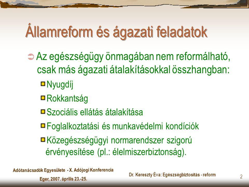 Adótanácsadók Egyesülete - X. Adójogi Konferencia Eger, 2007. április 23.-25. Dr. Kereszty Éva: Egészségbiztosítás - reform 2 Államreform és ágazati f