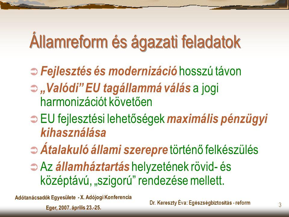 Adótanácsadók Egyesülete - X. Adójogi Konferencia Eger, 2007. április 23.-25. Dr. Kereszty Éva: Egészségbiztosítás - reform 3 Államreform és ágazati f