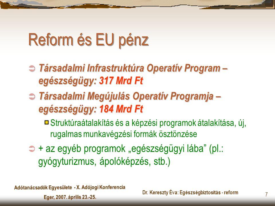 Adótanácsadók Egyesülete - X. Adójogi Konferencia Eger, 2007. április 23.-25. Dr. Kereszty Éva: Egészségbiztosítás - reform 7 Reform és EU pénz  Társ