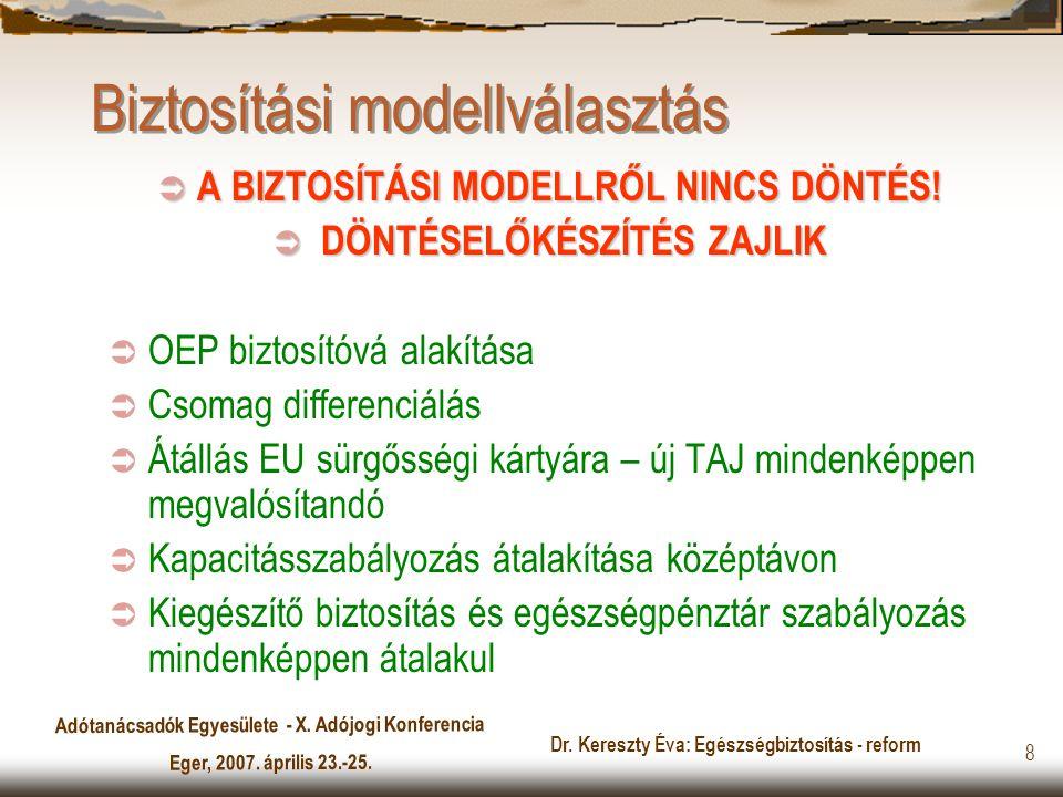 Adótanácsadók Egyesülete - X. Adójogi Konferencia Eger, 2007. április 23.-25. Dr. Kereszty Éva: Egészségbiztosítás - reform 8 Biztosítási modellválasz
