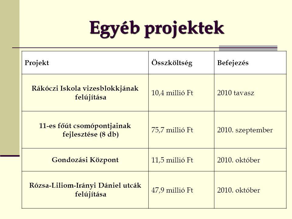 Egyéb projektek ProjektÖsszköltségBefejezés Rákóczi Iskola vizesblokkjának felújítása 10,4 millió Ft2010 tavasz 11-es főút csomópontjainak fejlesztése (8 db) 75,7 millió Ft2010.