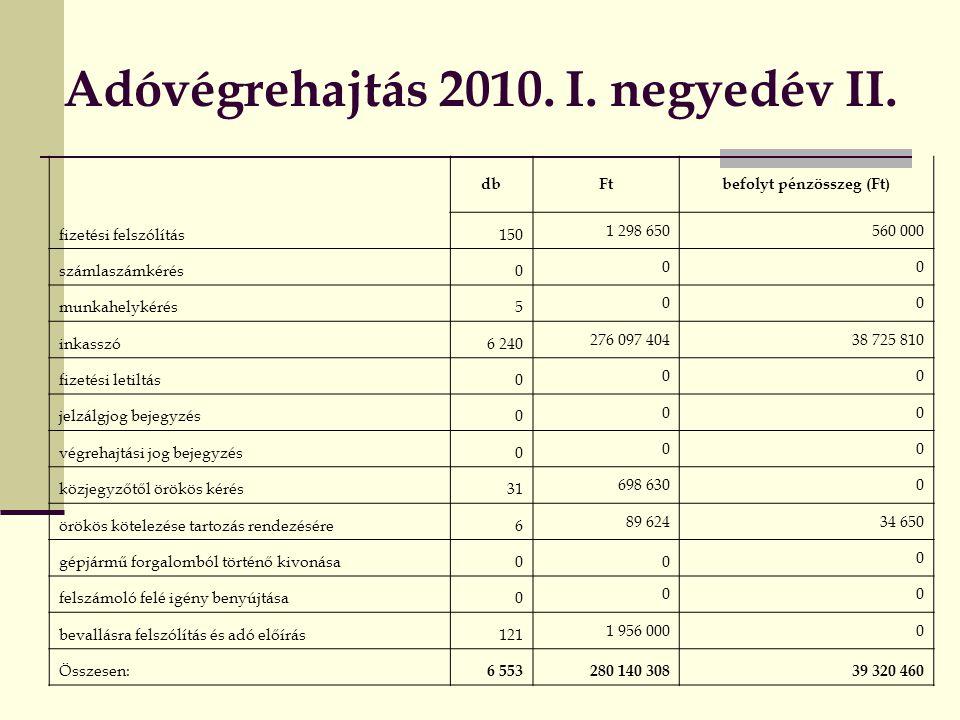 Adóvégrehajtás 2010.I. negyedév II.
