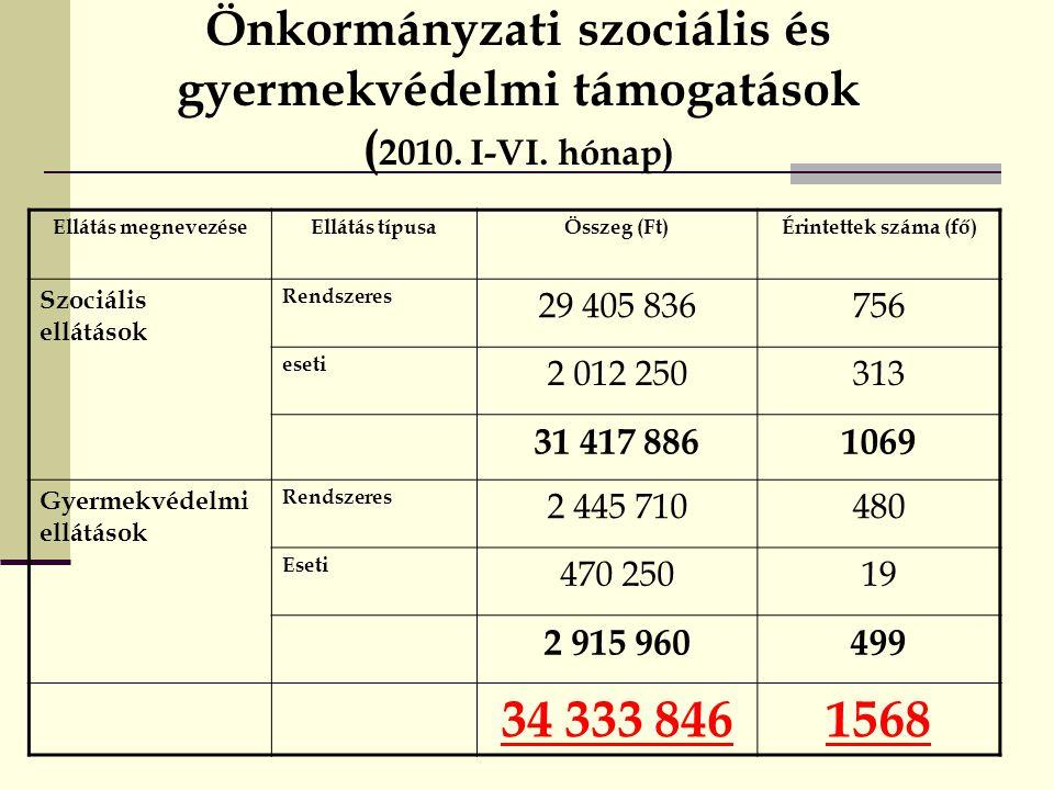 Önkormányzati szociális és gyermekvédelmi támogatások ( 2010.