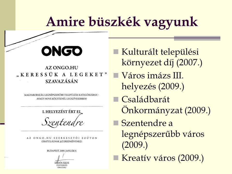 Amire büszkék vagyunk KKulturált települési környezet díj (2007.) VVáros imázs III.