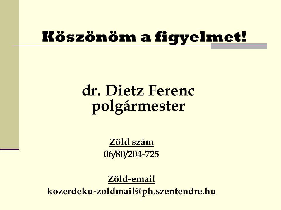 Köszönöm a figyelmet.Zöld szám 06/80/204-725 Zöld-email kozerdeku-zoldmail@ph.szentendre.hu dr.