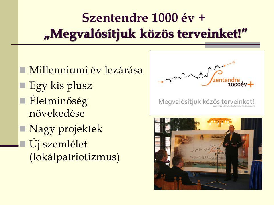 """""""Megvalósítjuk közös terveinket! Szentendre 1000 év + """"Megvalósítjuk közös terveinket!  Millenniumi év lezárása  Egy kis plusz  Életminőség növekedése  Nagy projektek  Új szemlélet (lokálpatriotizmus)"""