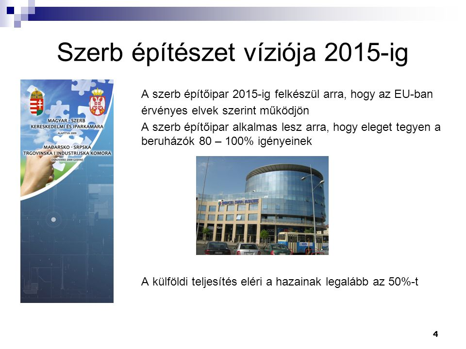 4 Szerb építészet víziója 2015-ig A szerb építőipar 2015-ig felkészül arra, hogy az EU-ban érvényes elvek szerint működjön A szerb építőipar alkalmas lesz arra, hogy eleget tegyen a beruházók 80 – 100% igényeinek A külföldi teljesítés eléri a hazainak legalább az 50%-t