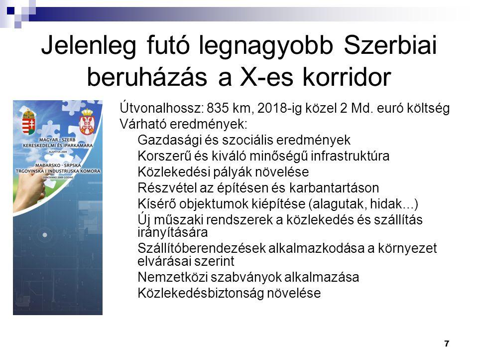 7 Jelenleg futó legnagyobb Szerbiai beruházás a X-es korridor Útvonalhossz: 835 km, 2018-ig közel 2 Md.