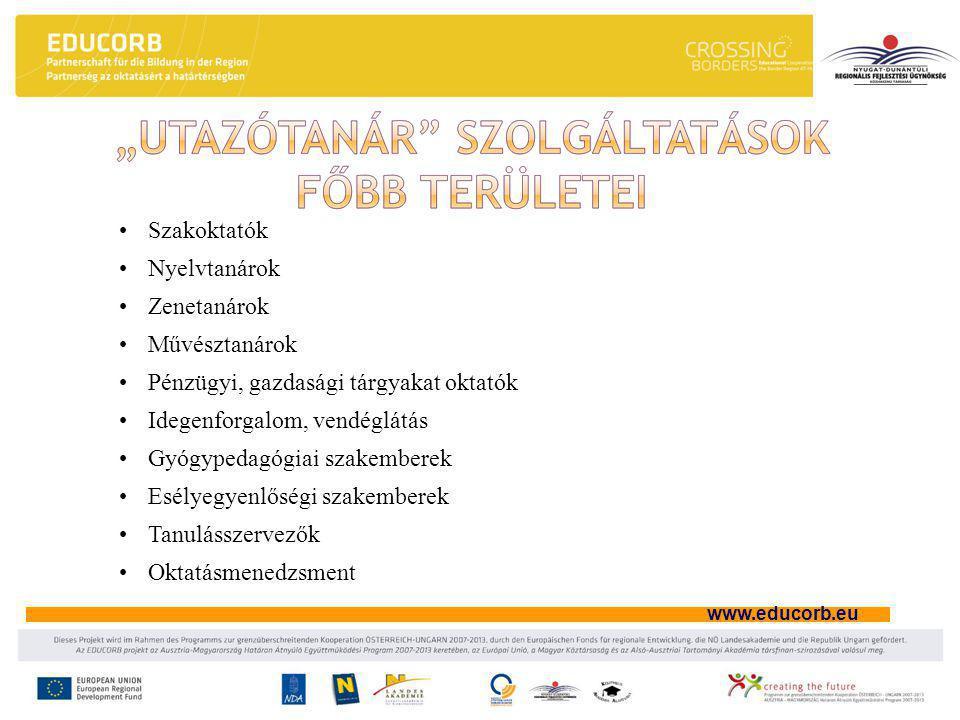 www.educorb.eu •Szakoktatók •Nyelvtanárok •Zenetanárok •Művésztanárok •Pénzügyi, gazdasági tárgyakat oktatók •Idegenforgalom, vendéglátás •Gyógypedagógiai szakemberek •Esélyegyenlőségi szakemberek •Tanulásszervezők •Oktatásmenedzsment