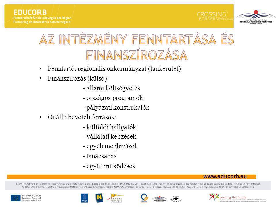 www.educorb.eu •Fenntartó: regionális önkormányzat (tankerület) •Finanszírozás (külső): - állami költségvetés - országos programok - pályázati konstrukciók •Önálló bevételi források: - külföldi hallgatók - vállalati képzések - egyéb megbízások - tanácsadás - együttműködések