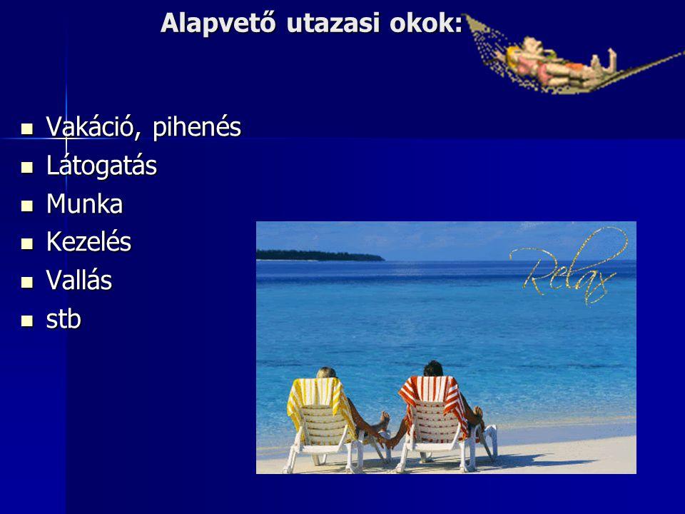 Alapvető utazasi okok:  Vakáció, pihenés  Látogatás  Munka  Kezelés  Vallás  stb