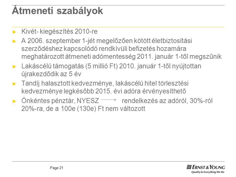 Page 21 Átmeneti szabályok ► Kivét- kiegészítés 2010-re ► A 2006.