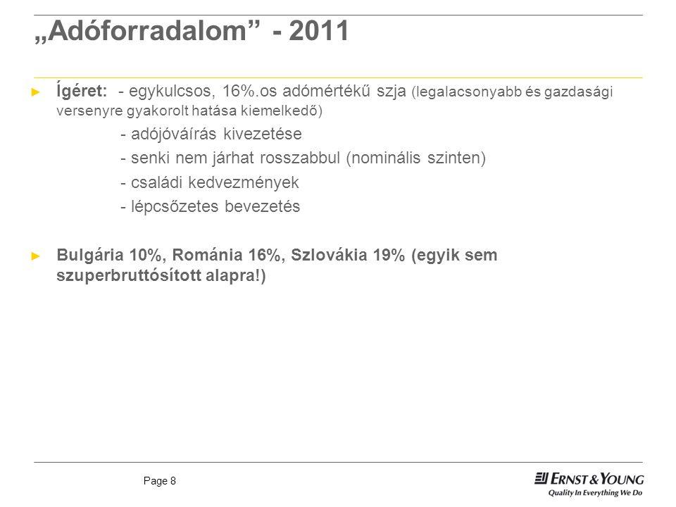 """Page 8 """"Adóforradalom - 2011 ► Ígéret: - egykulcsos, 16%.os adómértékű szja (legalacsonyabb és gazdasági versenyre gyakorolt hatása kiemelkedő) - adójóváírás kivezetése - senki nem járhat rosszabbul (nominális szinten) - családi kedvezmények - lépcsőzetes bevezetés ► Bulgária 10%, Románia 16%, Szlovákia 19% (egyik sem szuperbruttósított alapra!)"""