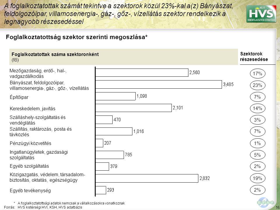 16 Foglalkoztatottság szektor szerinti megoszlása* A foglalkoztatottak számát tekintve a szektorok közül 23%-kal a(z) Bányászat, feldolgozóipar, villamosenergia-, gáz-, gőz-, vízellátás szektor rendelkezik a legnagyobb részesedéssel *A foglalkoztatottsági adatok nemcsak a vállalkozásokra vonatkoznak Forrás:HVS kistérségi HVI, KSH, HVS adatbázis Foglalkoztatottak száma szektoronként (fő) Mezőgazdaság, erdő-, hal-, vadgazdálkodás Bányászat, feldolgozóipar, villamosenergia-, gáz-, gőz-, vízellátás Építőipar Kereskedelem, javítás Szálláshely-szolgáltatás és vendéglátás Szállítás, raktározás, posta és távközlés Pénzügyi közvetítés Ingatlanügyletek, gazdasági szolgáltatás Egyéb szolgáltatás Közigazgatás, védelem, társadalom- biztosítás, oktatás, egészségügy Szektorok részesedése 17% 23% 14% 3% 7% 5% 2% 19% 7% 1% Egyéb tevékenység 2%