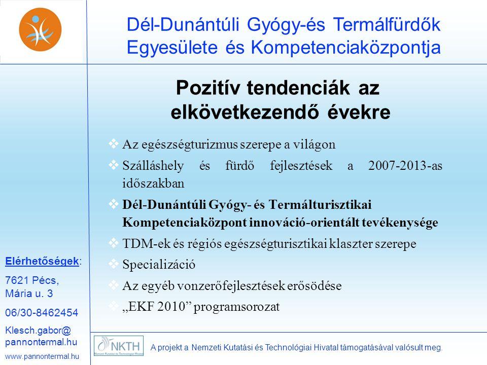 Elérhetőségek: 7621 Pécs, Mária u. 3 06/30-8462454 Klesch.gabor@ pannontermal.hu www.pannontermal.hu Dél-Dunántúli Gyógy-és Termálfürdők Egyesülete és