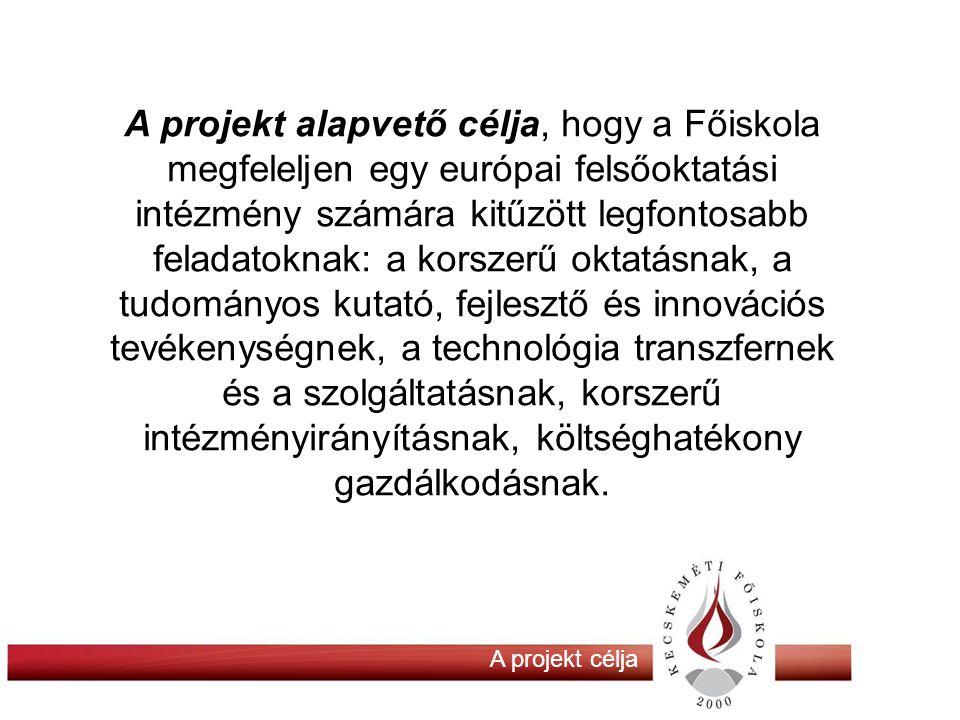 A projekt alapvető célja, hogy a Főiskola megfeleljen egy európai felsőoktatási intézmény számára kitűzött legfontosabb feladatoknak: a korszerű oktatásnak, a tudományos kutató, fejlesztő és innovációs tevékenységnek, a technológia transzfernek és a szolgáltatásnak, korszerű intézményirányításnak, költséghatékony gazdálkodásnak.