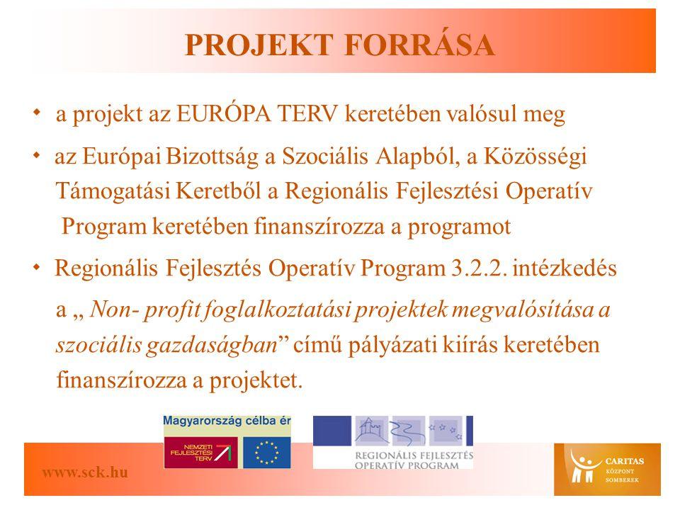 www.sck.hu PROJEKT FORRÁSA  a projekt az EURÓPA TERV keretében valósul meg  az Európai Bizottság a Szociális Alapból, a Közösségi Támogatási Keretből a Regionális Fejlesztési Operatív Program keretében finanszírozza a programot  Regionális Fejlesztés Operatív Program 3.2.2.
