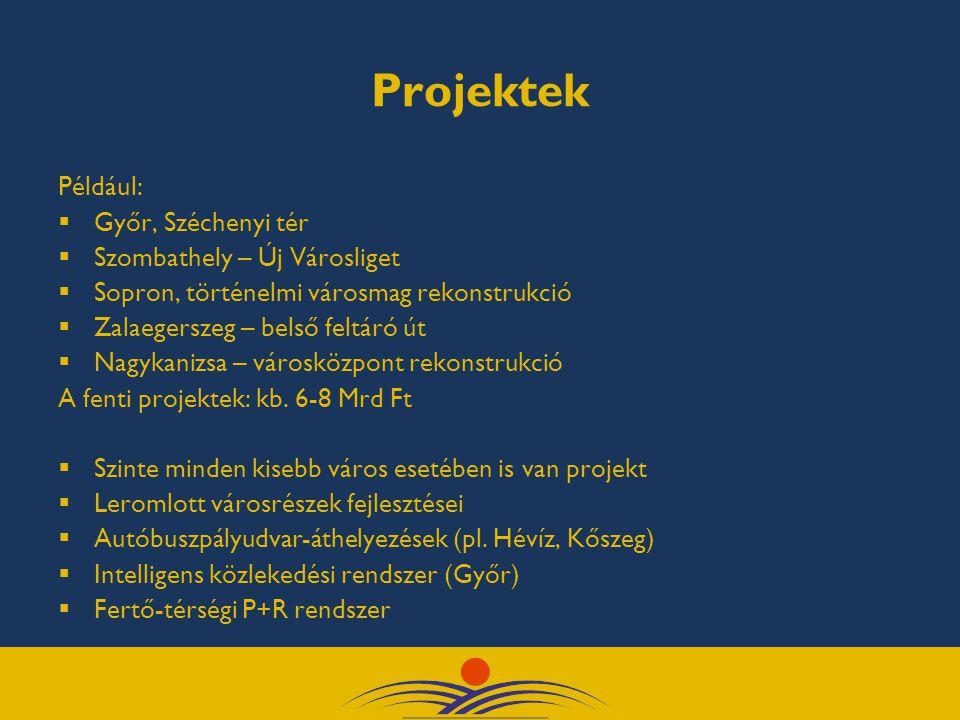 Projektek Például:  Győr, Széchenyi tér  Szombathely – Új Városliget  Sopron, történelmi városmag rekonstrukció  Zalaegerszeg – belső feltáró út  Nagykanizsa – városközpont rekonstrukció A fenti projektek: kb.