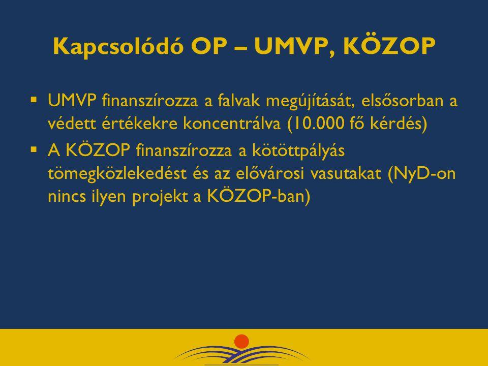 Kapcsolódó OP – UMVP, KÖZOP  UMVP finanszírozza a falvak megújítását, elsősorban a védett értékekre koncentrálva (10.000 fő kérdés)  A KÖZOP finanszírozza a kötöttpályás tömegközlekedést és az elővárosi vasutakat (NyD-on nincs ilyen projekt a KÖZOP-ban)