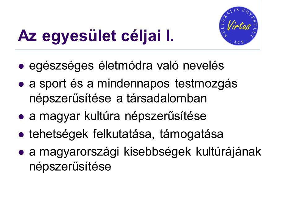 Az egyesület céljai I.  egészséges életmódra való nevelés  a sport és a mindennapos testmozgás népszerűsítése a társadalomban  a magyar kultúra nép