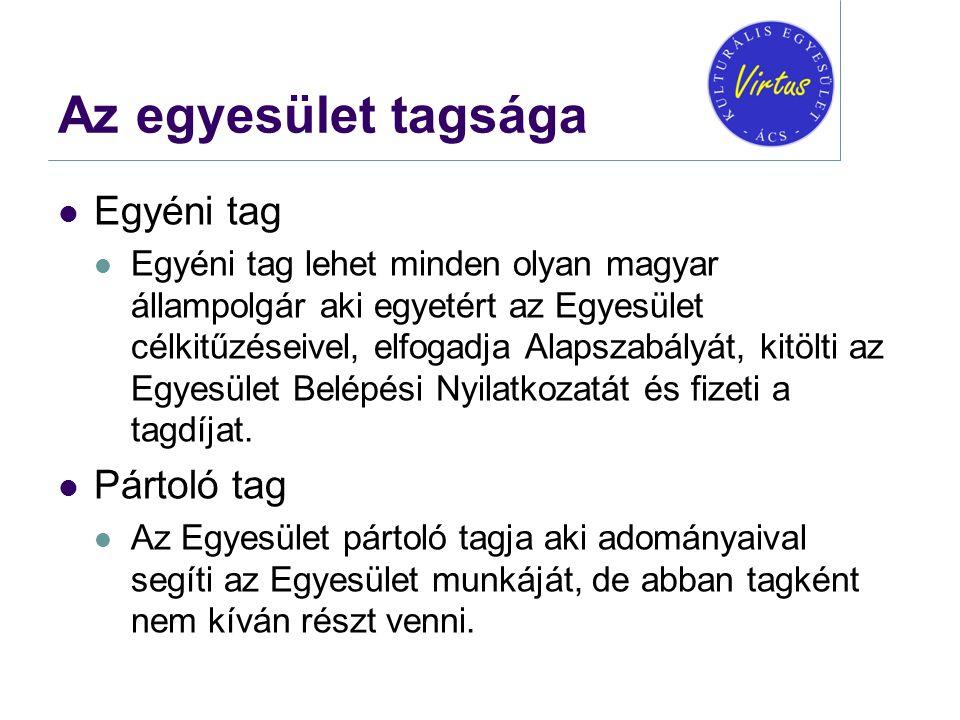 Az egyesület tagsága  Egyéni tag  Egyéni tag lehet minden olyan magyar állampolgár aki egyetért az Egyesület célkitűzéseivel, elfogadja Alapszabályá