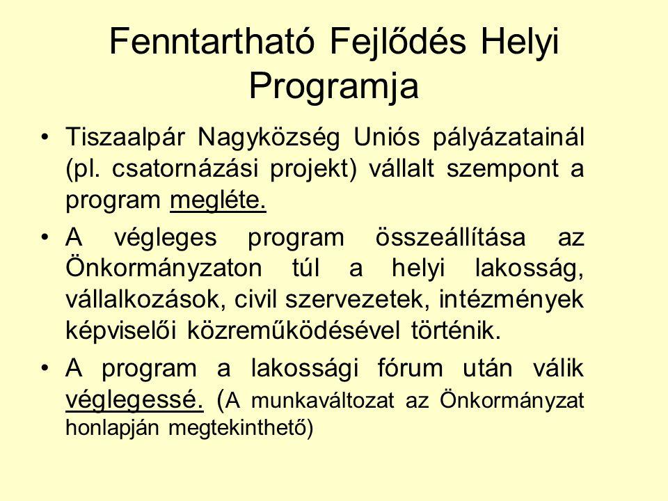 Fenntartható Fejlődés Helyi Programja •Tiszaalpár Nagyközség Uniós pályázatainál (pl.