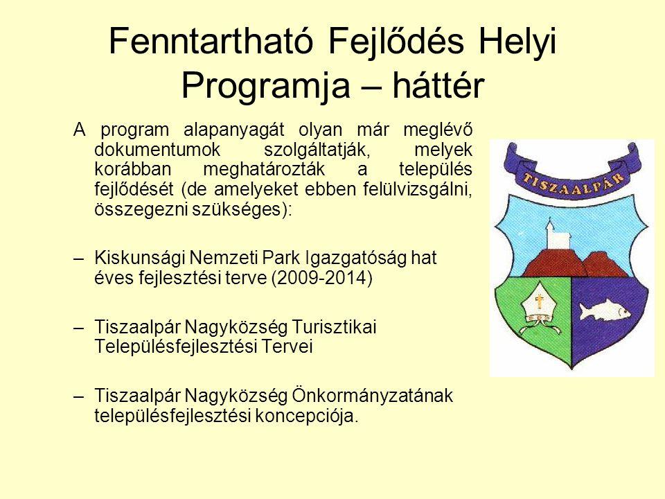 Fenntartható Fejlődés Helyi Programja – háttér A program alapanyagát olyan már meglévő dokumentumok szolgáltatják, melyek korábban meghatározták a település fejlődését (de amelyeket ebben felülvizsgálni, összegezni szükséges): –Kiskunsági Nemzeti Park Igazgatóság hat éves fejlesztési terve (2009-2014) –Tiszaalpár Nagyközség Turisztikai Településfejlesztési Tervei –Tiszaalpár Nagyközség Önkormányzatának településfejlesztési koncepciója.