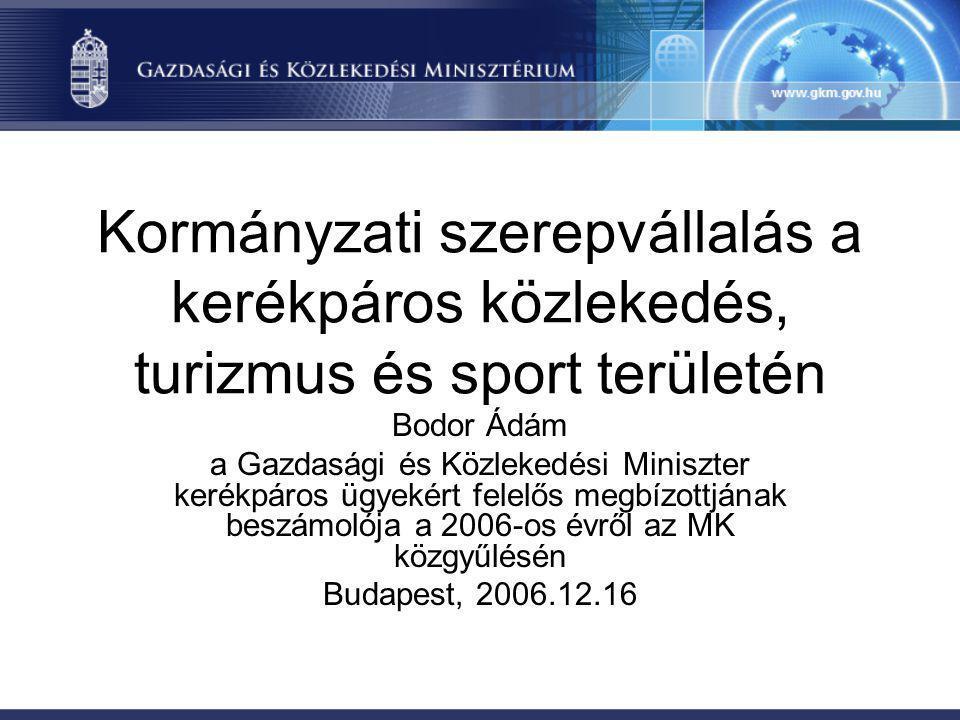 Kormányzati szerepvállalás a kerékpáros közlekedés, turizmus és sport területén Bodor Ádám a Gazdasági és Közlekedési Miniszter kerékpáros ügyekért fe