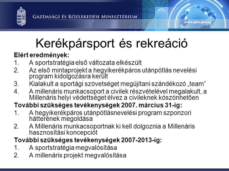 Kerékpársport és rekreáció Elért eredmények: 1.A sportstratégia első változata elkészült 2.Az első mintaprojekt a hegyikerékpáros utánpótlás nevelési