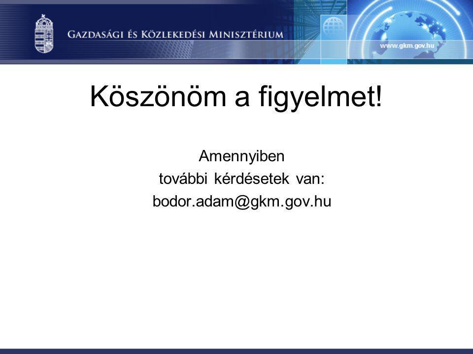 Köszönöm a figyelmet! Amennyiben további kérdésetek van: bodor.adam@gkm.gov.hu