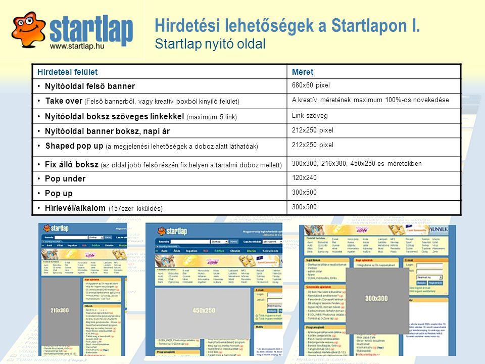 Hirdetési lehetőségek a Startlapon I. Hirdetési felületMéret • Nyitóoldal felső banner 680x60 pixel • Take over (Felső bannerből, vagy kreatív boxból