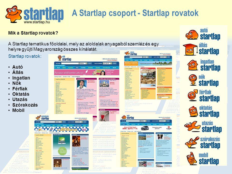 A Startlap csoport - Startlap rovatok Mik a Startlap rovatok? A Startlap tematikus főoldalai, mely az aloldalak anyagaiból szemléz és egy helyre gyűjt