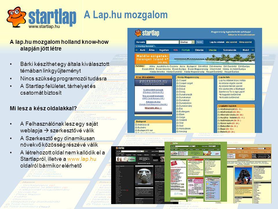 A Lap.hu mozgalom A lap.hu mozgalom holland know-how alapján jött létre •Bárki készíthet egy általa kiválasztott témában linkgyűjteményt •Nincs szüksé